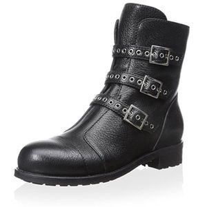 Jimmy Choo Triple Buckle Leather Black Boot